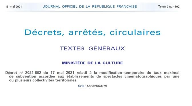 AIDE DES COLLECTIVITÉS TERRITORIALES AUX CINÉMAS : le décret est paru 😉
